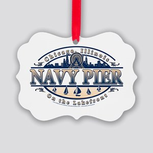 Navy Pier Oval Stylized Skyline design Picture Orn
