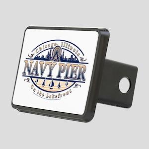 Navy Pier Oval Stylized Skyline design Rectangular