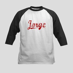 Jorge, Vintage Red Kids Baseball Jersey