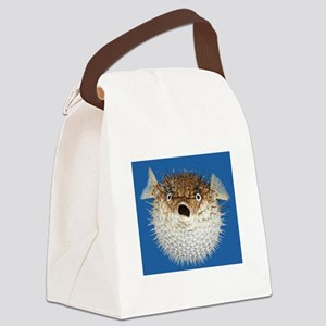Blow Fish Face Canvas Lunch Bag