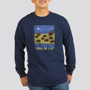 Yellowstone Park Night Sky Long Sleeve Dark T-Shir