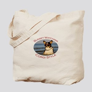 Sunset Watching Corgi Style Tote Bag