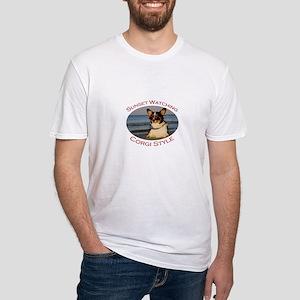 Sunset Watching Corgi Style Fitted T-Shirt