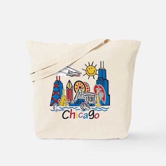Chicago Cute Kids Skyline Tote Bag