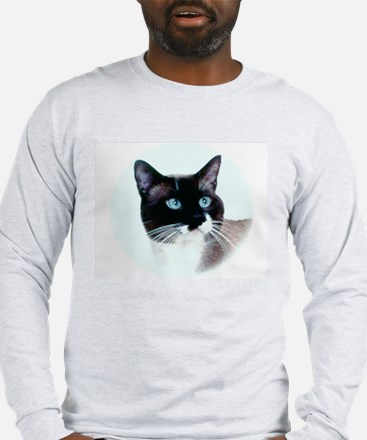 Snowshoe Cat Head Long Sleeve T-Shirt