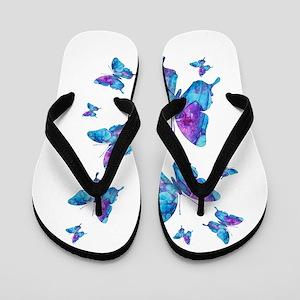 Electric Blue Butterfly Flip Flops