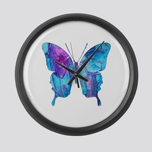Electric Blue Butterfly Large Wall Clock