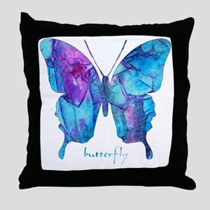 Electric Blue Butterfly Throw Pillow