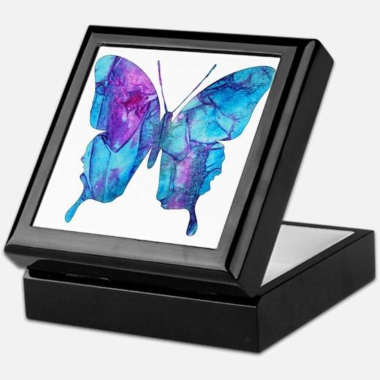 Electric Blue Butterfly Keepsake Box