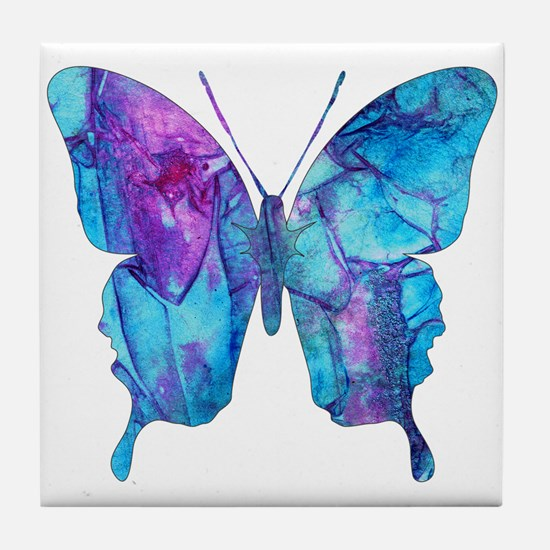 Electric Blue Butterfly Tile Coaster