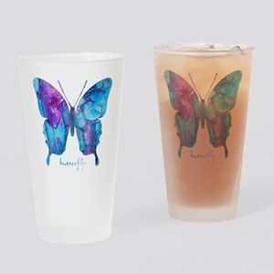 Electric Blue Butterfly Drinking Glass