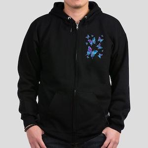 Electric Blue Butterfly Zip Hoodie (dark)