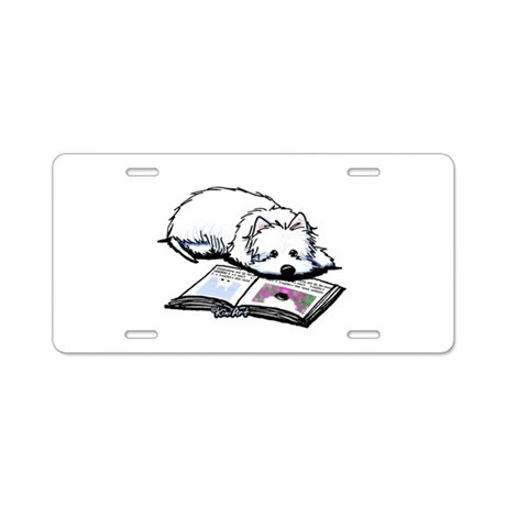 Book Lover Wendell Westie Aluminum License Plate
