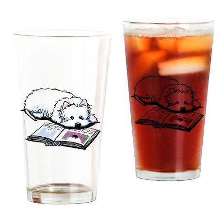 Book Lover Wendell Westie Drinking Glass
