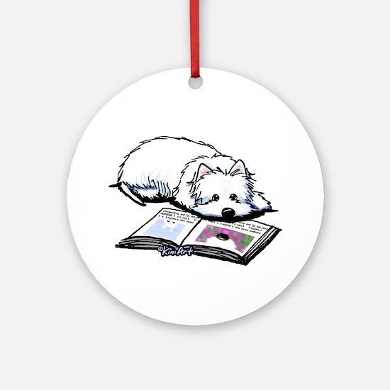 Book Lover Wendell Westie Ornament (Round)