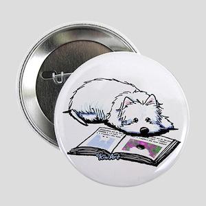"""Book Lover Wendell Westie 2.25"""" Button"""
