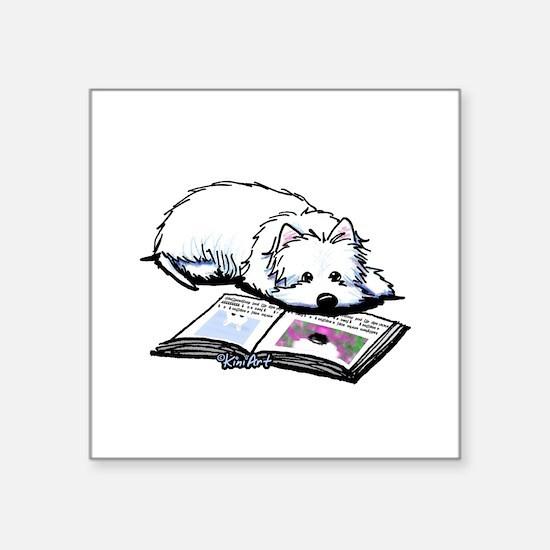 """Book Lover Wendell Westie Square Sticker 3"""" x 3"""""""
