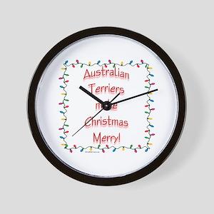 Australian Terrier Merry Wall Clock