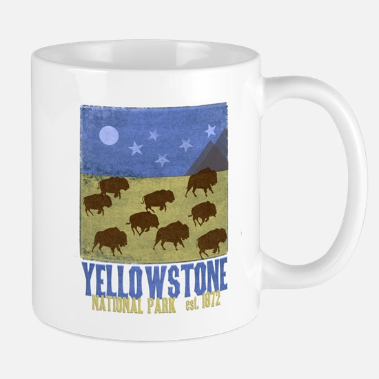 Yellowstone Bison Scene Mugs