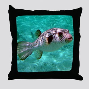 Striped Puffer Fish Throw Pillow
