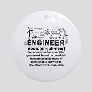 Funny Engineer Definition Round Ornament