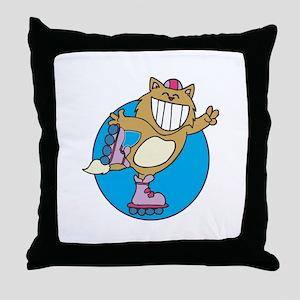 Kitty on Roller Skates Throw Pillow