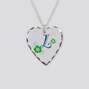 L Flowers Necklace Heart Charm