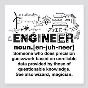"Funny Engineer Definitio Square Car Magnet 3"" x 3"""