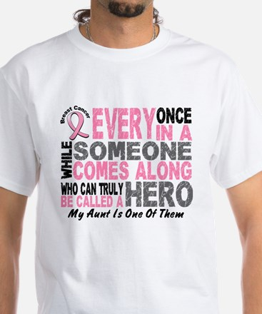HERO Comes Along 1 Aunt BREAST CANCER T-Shirt