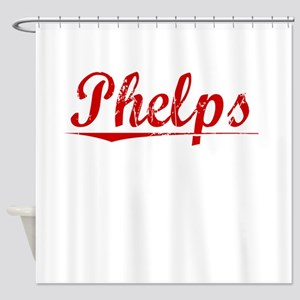 Phelps, Vintage Red Shower Curtain