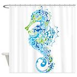Whimsical Blue Seahorse Shower Curtain