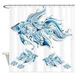 Whimsical Blue Fish Shower Curtain