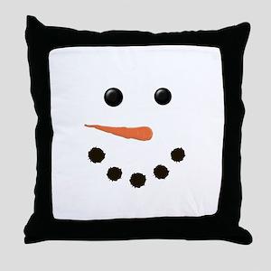 Cute Snowman Face Throw Pillow
