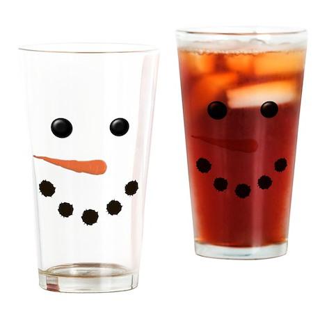 Cute Snowman Face Drinking Glass
