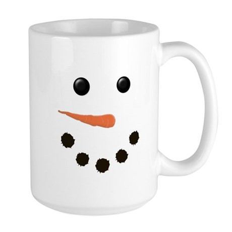 Cute Snowman Face Large Mug