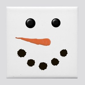 Cute Snowman Face Tile Coaster