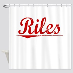 Riles, Vintage Red Shower Curtain