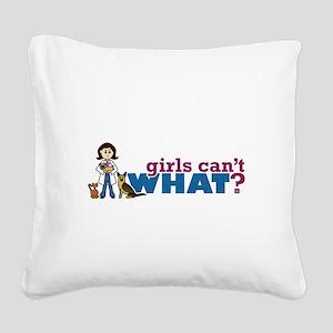 Veterinarian Girl Square Canvas Pillow