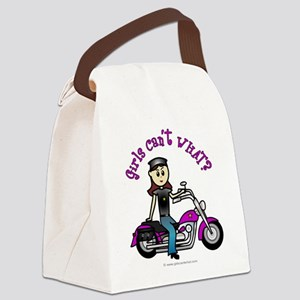 3-biker-white-purple-light Canvas Lunch Bag