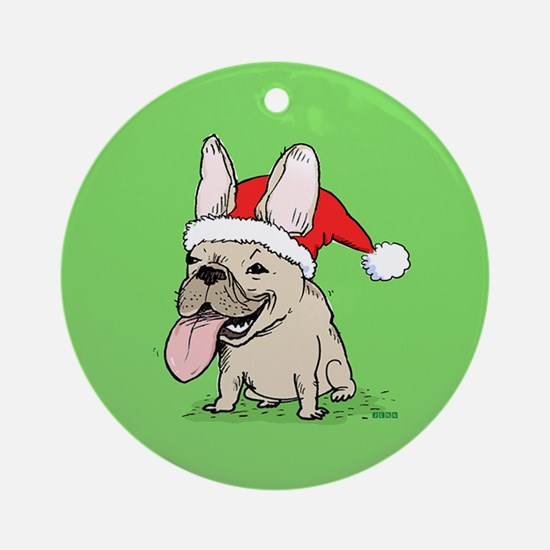 French Bulldog Christmas Ornament (Round)