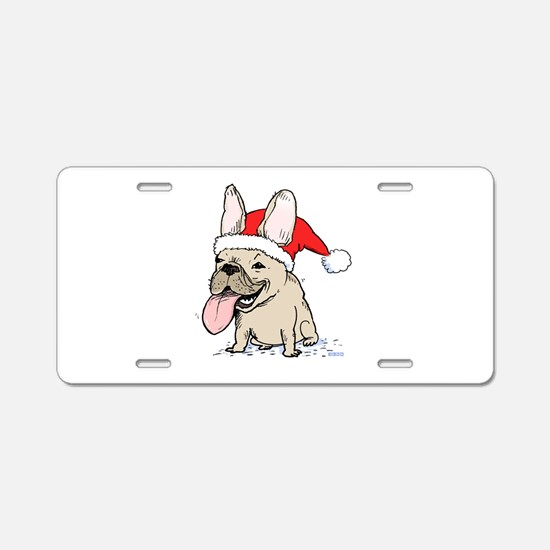 French Bulldog Christmas Aluminum License Plate