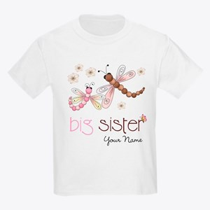 Big Sister Dragonfly Personalized Kids Light T-Shi