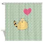Cat and Heart Balloon Shower Curtain