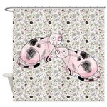 Funky Pink Cats and Birds Shower Curtain