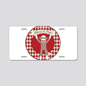 Sock Monkey About to Pop Aluminum License Plate