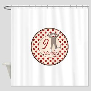 Sock Monkey 9 Months Milestone Shower Curtain