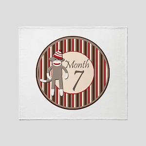 Sock Monkey 7 Months Milestone Throw Blanket