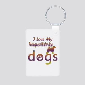 Portuguese water dog designs Aluminum Photo Keycha