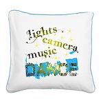 Lights Camera Music Dance Square Canvas Pillow