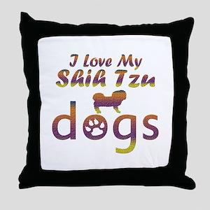 Shih Tzu designs Throw Pillow